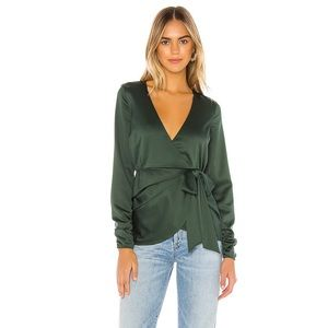 Revolve Emerald Ruched Wrap Long Sleeve Top